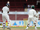 Kosala Kulasekara is bowled, Pakistan v Sri Lanka, 3rd Test, Sharjah, 5th day, November 7, 2011