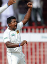 Rangana Herath raises his fist after dismissing Azhar Ali, Pakistan v Sri Lanka, 3rd Test, Sharjah, 5th day, November 7, 2011