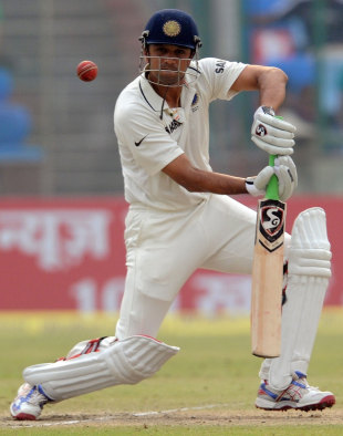 Rahul Dravid plays one to the off side, India v West Indies, 1st Test, New Delhi, 3rd day, November 8, 2011