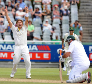 Shane Watson celebrates bowling Graeme Smith, South Africa v Australia, 1st Test, Cape Town, 2nd day, November 10, 2011