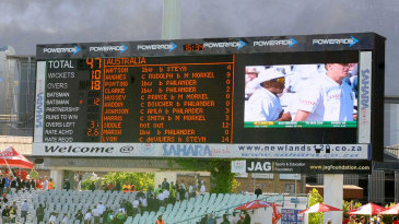 The scoreboard tells the tale of Australia's misery at Newlands in 2011