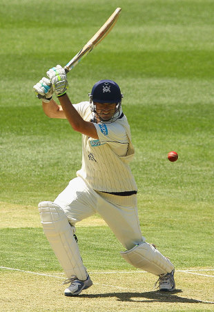 Rob Quiney drives during his 92, Victoria v Western Australia, Sheffield Shield, 1st day, MCG, November 11, 2011