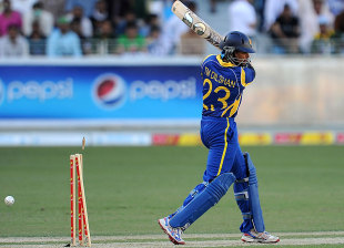 Tillakaratne Dilshan drags the ball onto his stumps, Pakistan v Sri Lanka, 1st ODI, Dubai, November 11, 2011