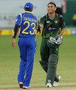 Younis Khan and Tillakaratne Dilshan shake hands after the early finish, Pakistan v Sri Lanka, 1st ODI, Dubai, November 11, 2011