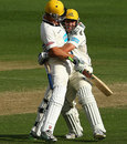 Mitchell Marsh and Travis Birt celebrate Western Australia's chase of 362