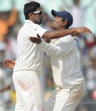 R Ashwin and Pragyan Ojha struck four times in quick succession, India v West Indies, 2nd Test, Kolkata, 4th day, November 17, 2011