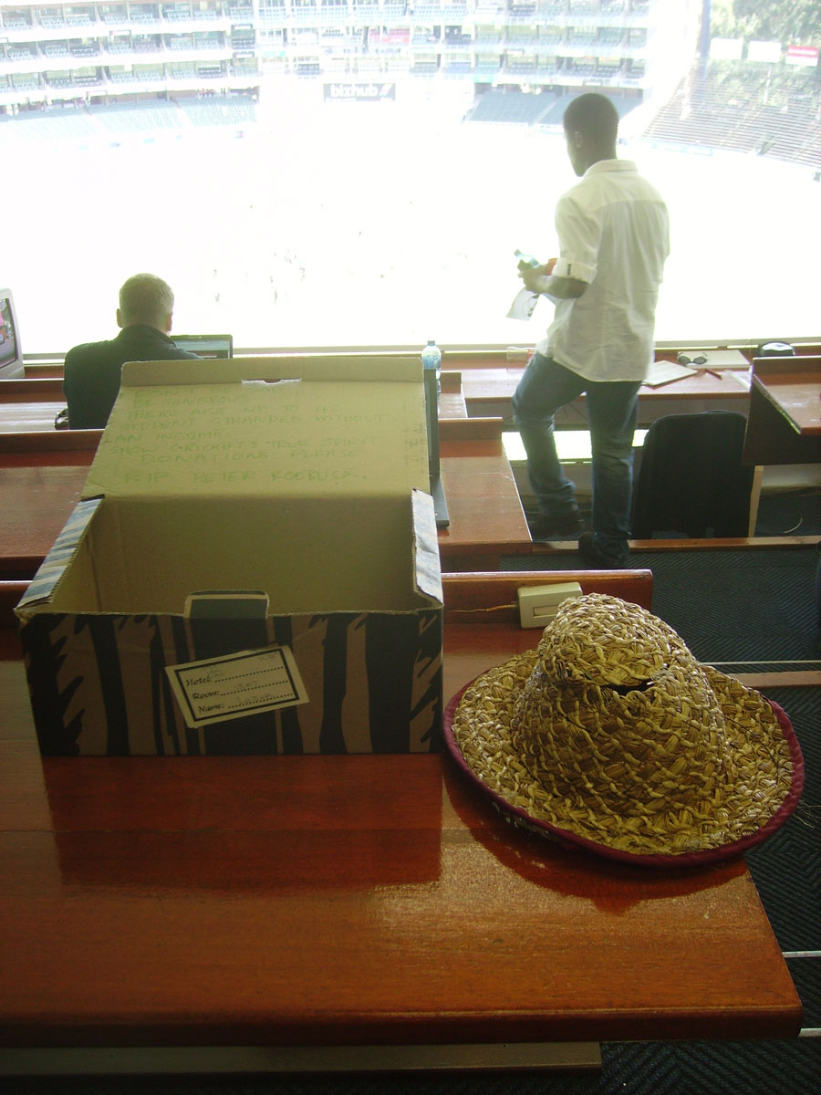 Peter Roebuck's hat sits on a desk in the press box, South Africa v Australia, 2nd Test, Johannesburg, 1st day, November 17, 2011