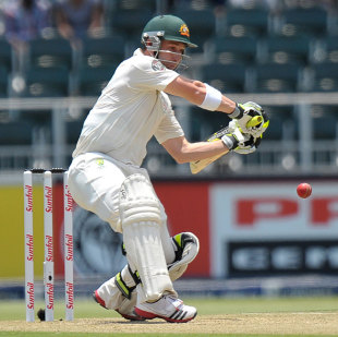 Phil Hughes prepares to cut, South Africa v Australia, 2nd Test, Johannesburg, 2nd day, November 18, 2011