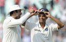 VVS Laxman and Rahul Dravid celebrate the win, India v West Indies, 2nd Test, Kolkata, 4th day, November 17, 2011