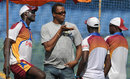 Courtney Walsh talks to members of the West Indian team at a training session, Mumbai, November 20, 2011