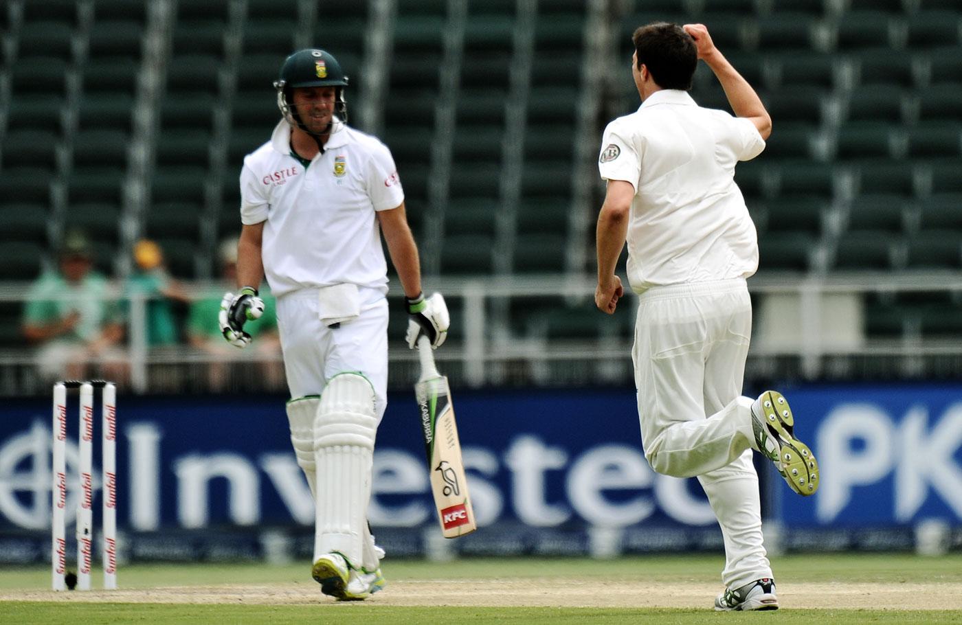 Big-ticket wicket: Cummins dismisses AB de Villiers on debut in Johannesburg, 2011