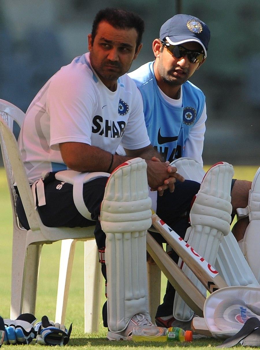 Virender Sehwag and Gautam Gambhir with their pads onVirender Sehwag And Gautam Gambhir