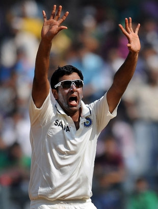 R Ashwin appeals successfully for an lbw against Kieran Powell, India v West Indies, 3rd Test, Mumbai, 5th day, November 26, 2011