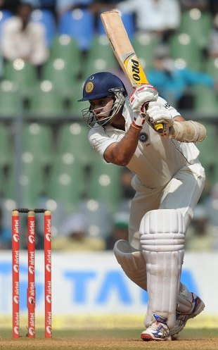 VVS Laxman drives through the off side, India v West Indies, 3rd Test, Mumbai, 5th day, November 26, 2011