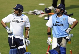Virender Sehwag and Gautam Gambhir at a net session on the eve of the first ODI against West Indies, Cuttack, November 28, 2011