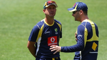 Ricky Ponting and Michael Clarke at Australia's net session