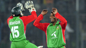 Mushfiqur Rahim and Alok Kapali celebrate another wicket