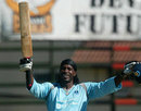 Chris Gayle celebrates his century for Matabeleland Tuskers