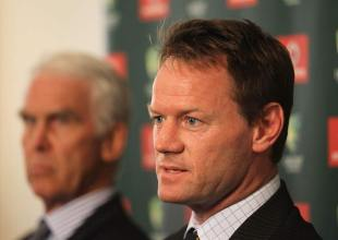 Australia's performance manager Pat Howard speaks to the media with Australian Chairman of Selectors John Inverarity (left) looking on, Brisbane, November 26, 2011