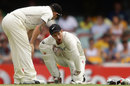 Reece Young was hit in the face when he couldn't get his gloves to a Daniel Vettori delivery that bounced unexpectedly, Australia v New Zealand, 1st Test, Brisbane, 3rd day, December 3, 2011