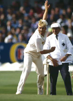 Shane Warne bowls in his first Ashes Test, England v Australia, 1st Test, Manchester, June 1993