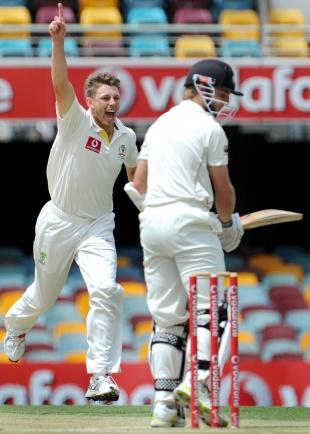James Pattinson celebrates the wicket of Kane Williamson, Australia v New Zealand, 1st Test, Brisbane, 4th day, December 4, 2011