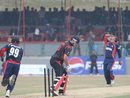 Courtney Kruger is bowled by Mahboob Alam during the ACC Twenty20 Cup 2011 match against Nepal