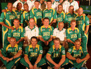 The South Africa squad: (top row, from left) Makhaya Ntini, Roger Telemachus, Loots Bosman, Andre Nel, Justin Kemp, Robin Peterson, Andrew Hall, Herschelle Gibbs,  (middle row) Jacques Kallis, (coach) Mickey Arthur, (capt) Graeme Smith, (manager) Goolam Rajah, Shaun Pollock, (front row) Charl Langeveldt, Mark Boucher, AB de Villiers, and Ashwell Prince, Johannesburg, February 15, 2007
