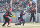 Nepal's Prithu Baskota drives the ball into the covers against Hong Kong during the ACC Twenty20 Cup 2011 match at Tribhuvan University Ground in Kathmandu on 3ed December 2011