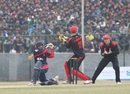 Nepal's Prithu Baskota fails to connect with a sharply turning ball that is taken by Jamie Atkinson at first slip during the ACC Twenty20 Cup 2011 in Kathmandu on 3rd December 2011