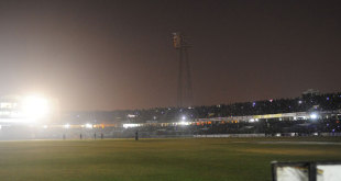 Play was halted when the floodlights failed at the Zahur Ahmed Chowdhury Stadium