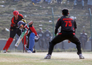 Nizakat Khan gets his revenge as he bowls Kuwait's Mohammad Irfan at the ACC Twenty20 Cup 2011 in Kathmandu on 7th December 2011