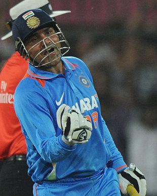 Virender Sehwag is pumped up after his one-day double-ton, India v West Indies, 4th ODI, Indore, December 8, 2011