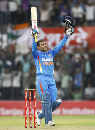 Sehwag smashes highest ODI score, leads India to 418
