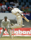 Brian Lara jumps to avoid a Brett Lee bouncer, West Indies v Australia, second Test, Port-of-Spain, April 22, 2003