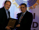 Ajit Wadekar receives the Col. CK Nayudu Lifetime Achievement Award from BCCI president N Srinivasan, Chennai, December 10, 2011