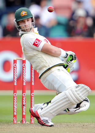 Phillip Hughes ducks a short one, Australia v New Zealand, second Test, Hobart, 3rd day, December 11 2011