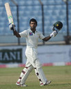 Asad Shafiq celebrates his maiden Test ton