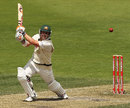 David Warner plays a lofted drive, Australia v New Zealand, 2nd Test, Hobart, 4th day, December 12 2011