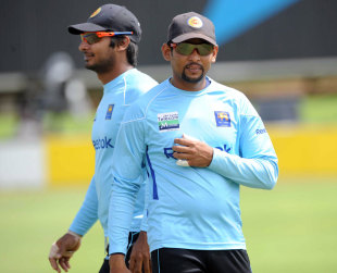 Kumar Sangakkara and Tillakaratne Dilshan during practice, Centurion, December 14, 2011