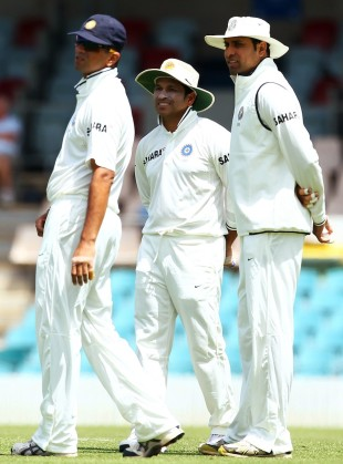 Rahul Dravid, Sachin Tendulkar and VVS Laxman in the field, Cricket Australia Chairman's XI v Indians, Canberra, 1st day, December 15, 2011