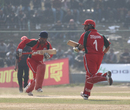Oman's Vaibhav Wategaonkar and Zeeshan Siddiqui shared a partnership of 25 runs against Hong Kong during their ACC Twenty20 Cup 2011 semi-final match at Kathmandu on 9th December 2011
