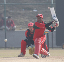 Oman's Sultan Ahmed plays a reverse sweep against Hong Kong in the ACC Twenty20 Cup 2011 in Kathmandu on 9th December 2011