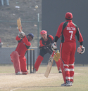 Oman's Vaibhav Wategaonkar lofts the ball to the long-off boundary against Hong Kong at the ACC Twenty20 Cup 2011 in Kathmandu on 9th December 2011