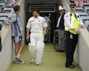Sachin Tendulkar walks out before the start of play, Cricket Australia Chairman's XI v Indians, Canberra, 2nd day, December 16, 2011