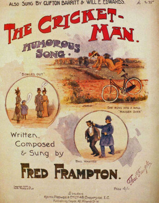 "Cover image of the 1904 single titled ""The Cricket Man"""