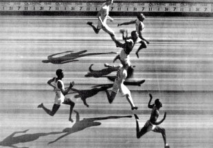 The photo finish for the 1948 London Olympics 100-metres men's final in which Alastair McCorquodale (third from bottom) came fourth, London,. July 31, 1948