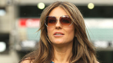 Liz Hurley marks her attendance at the Big Bash League