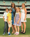 Liz Hurley poses with her son Damian and Shane Warne's daughters, Melbourne Stars v Sydney Thunder, Big Bash League, MCG, December 17, 2011