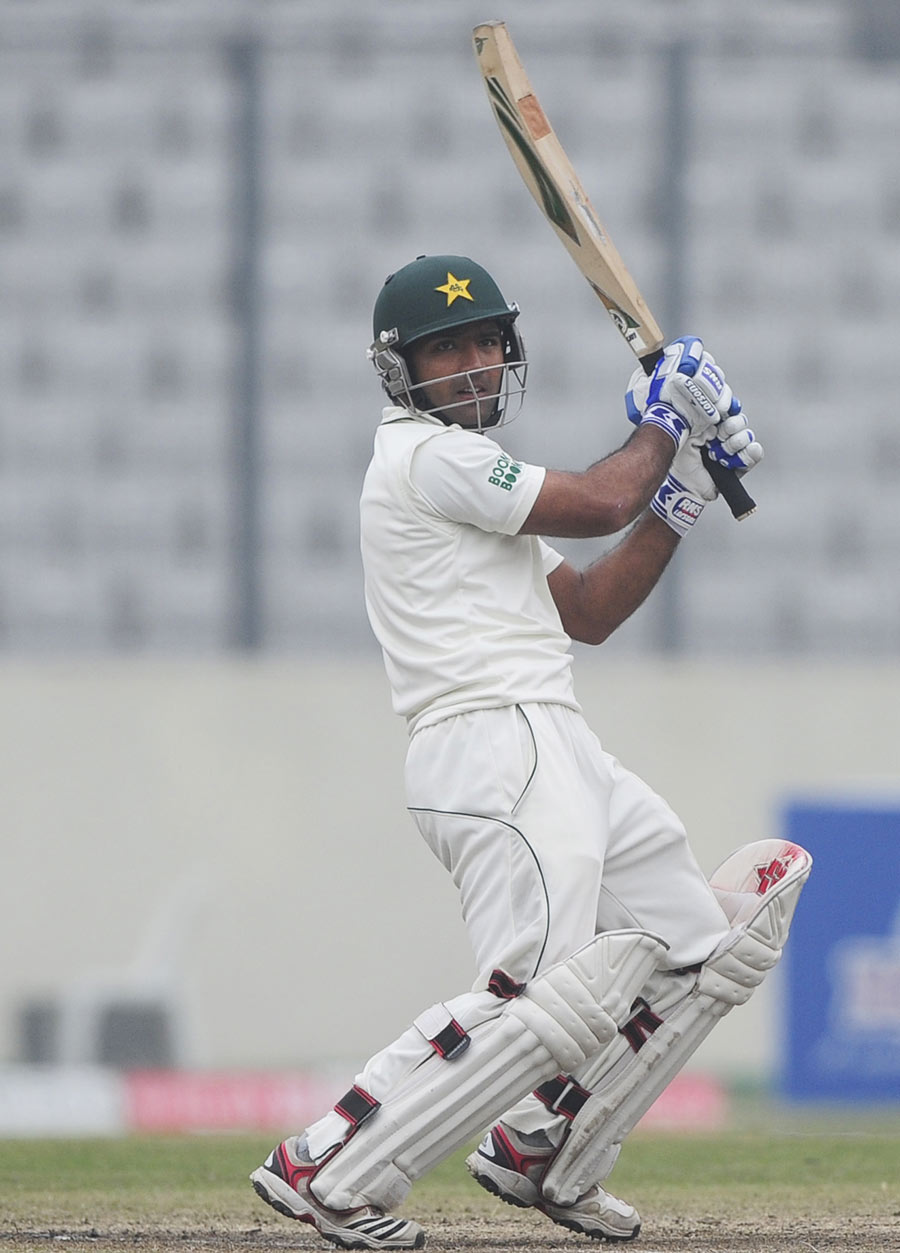 Asad Shafiq slaps the ball through the off side